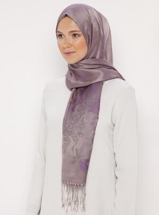 Lilac - Printed - Jacquard - Fringe - Shawl