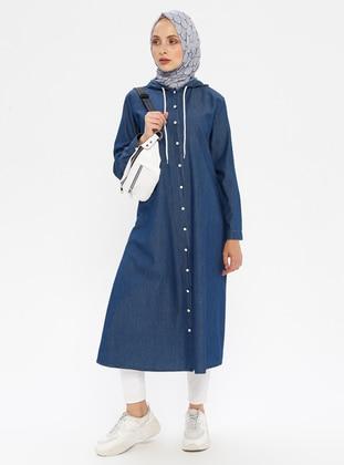 Navy Blue - Cotton - Denim - Tunic