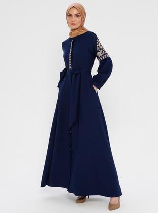 Navy Blue - Unlined - Button Collar - Abaya