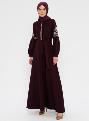Purple - Unlined - Button Collar - Abaya