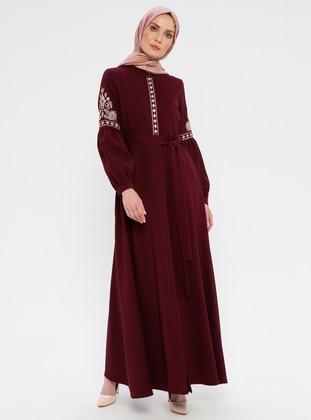 Plum - Unlined - Button Collar - Abaya