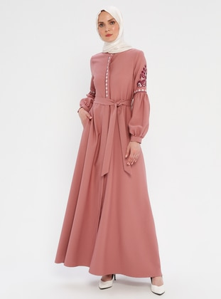 Powder - Unlined - Button Collar - Abaya