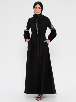 Black - Unlined - Button Collar - Abaya