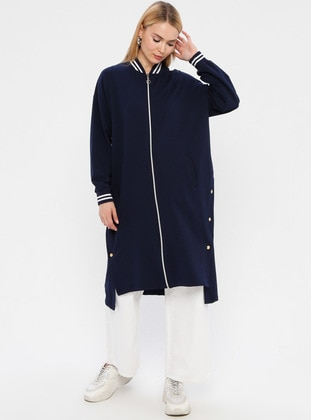 Navy Blue - Unlined - Crew neck - Topcoat