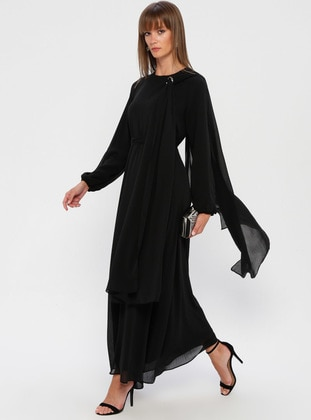 Black - Crew neck - Fully Lined - Dress