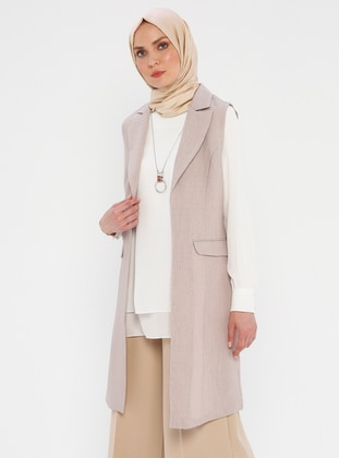 Beige - Unlined - Shawl Collar - Vest