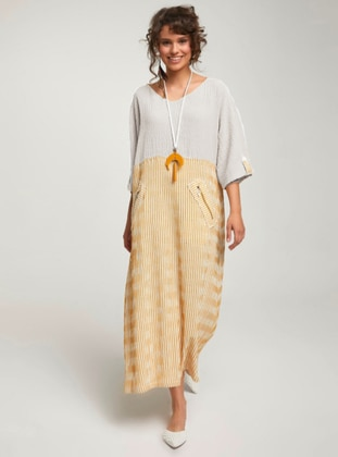 Yellow - Geometric - Stripe - Ethnic - Unlined - Cotton - Dress