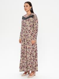 Plum - Multi - Unlined - Crew neck - Plus Size Dress