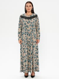 Petrol - Multi - Unlined - Crew neck - Plus Size Dress