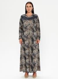 Saxe - Multi - Unlined - Crew neck - Plus Size Dress