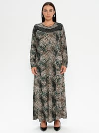 Green - Multi - Unlined - Crew neck - Plus Size Dress