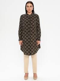 Khaki - Multi - Crew neck - Viscose - Plus Size Tunic