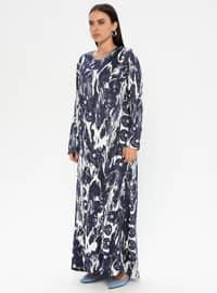 Navy Blue - Multi - Unlined - Crew neck - Viscose - Plus Size Dress