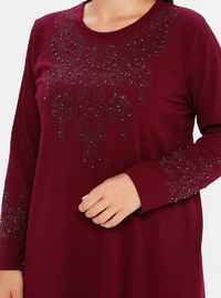 Cherry - Unlined - Crew neck - Plus Size Dress