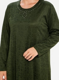 Khaki - Unlined - Crew neck - Plus Size Dress
