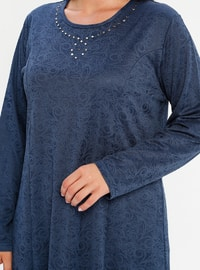 Indigo - Unlined - Crew neck - Plus Size Dress