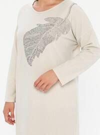 Ecru - Unlined - Crew neck - Plus Size Dress