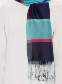 Multi - Turquoise - Two-way - Silk Blend - Cotton - Shawl