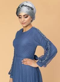 Indigo - Fully Lined - Crew neck - Muslim Evening Dress