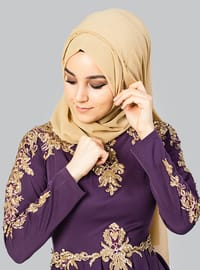 Purple - Unlined - Crew neck - Muslim Evening Dress