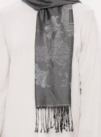 Gray - Printed - Jacquard - Fringe - Shawl