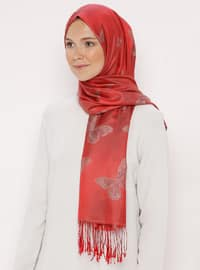 Red - Printed - Jacquard - Fringe - Shawl