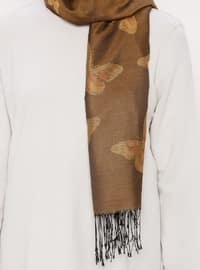 Brown - Tan - Printed - Jacquard - Fringe - Shawl