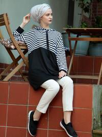 Black - Stripe - Viscose - Tunic