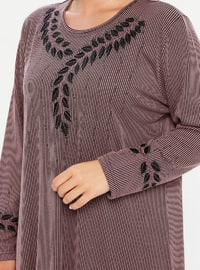 Dusty Rose - Multi - Unlined - Crew neck - Viscose - Plus Size Dress