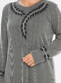 Stone - Multi - Unlined - Crew neck - Viscose - Plus Size Dress