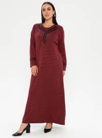 Cherry - Multi - Unlined - Crew neck - Viscose - Plus Size Dress