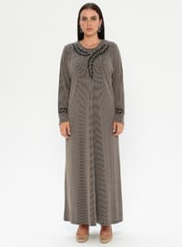 Mink - Multi - Unlined - Crew neck - Viscose - Plus Size Dress