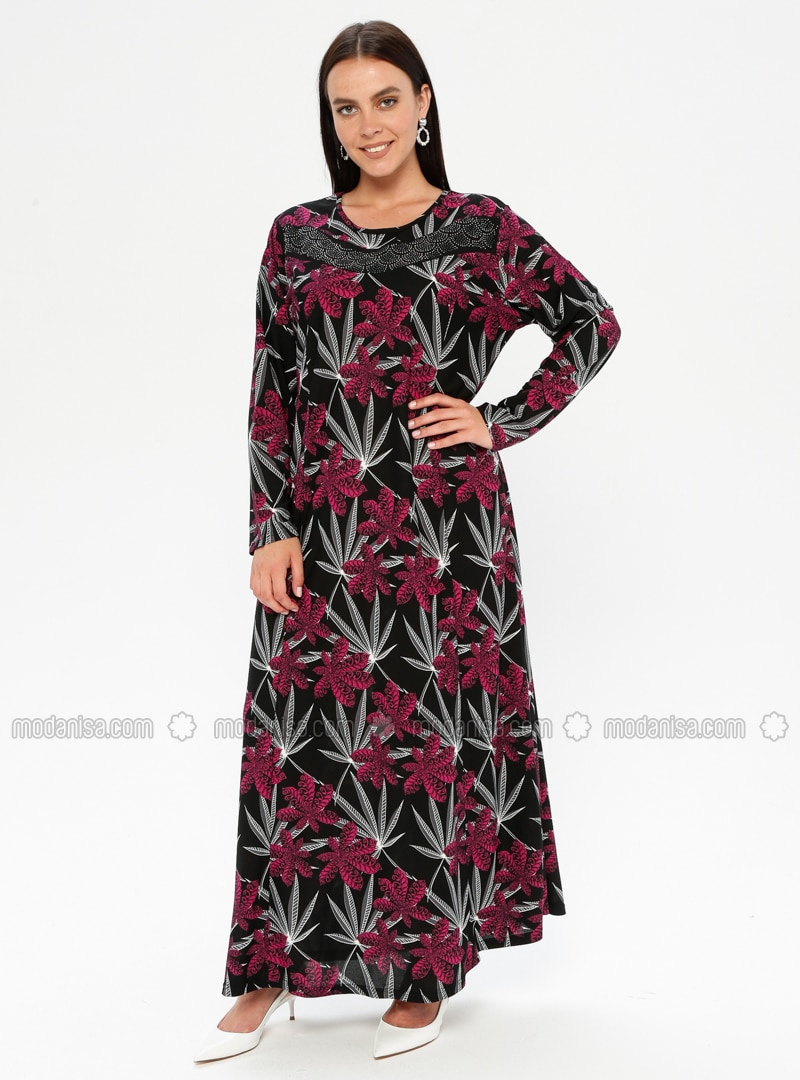 Fuchsia - Multi - Unlined - Crew neck - Plus Size Dress