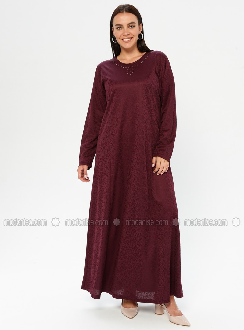 Maroon - Unlined - Crew neck - Plus Size Dress