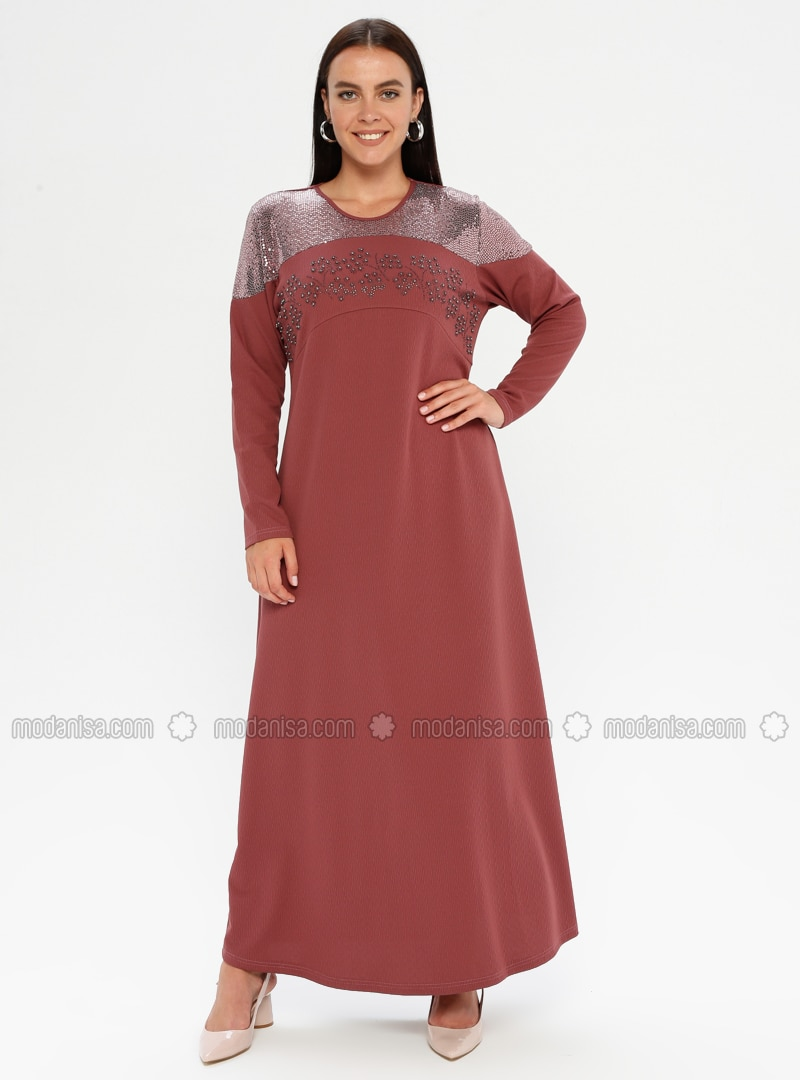 Dusty Rose - Unlined - Crew neck - Plus Size Dress