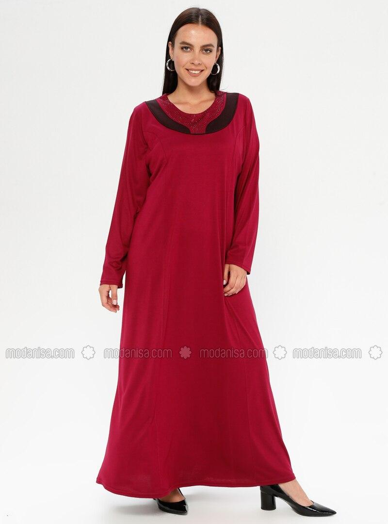 Cherry - Unlined - Crew neck - Viscose - Plus Size Dress