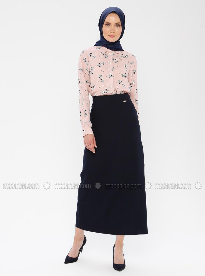 Navy Blue - Half Lined - Viscose - Skirt