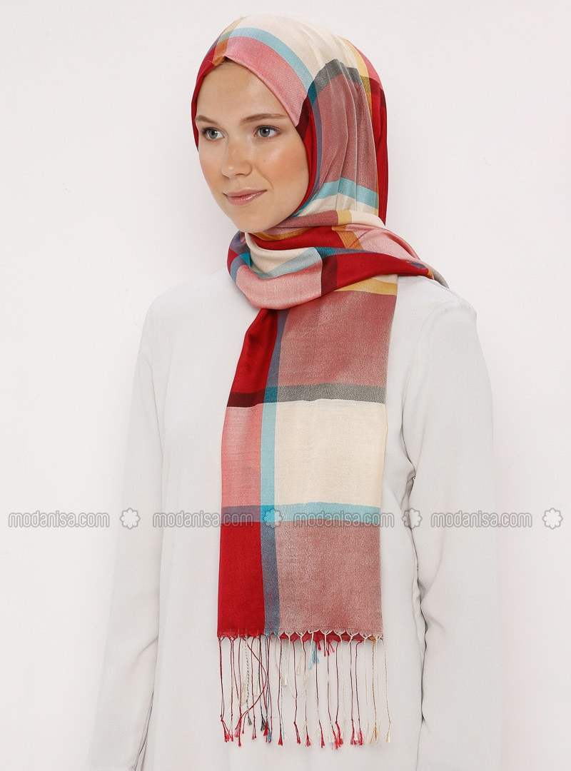 Red - Multi - Two-way - Silk Blend - Cotton - Shawl
