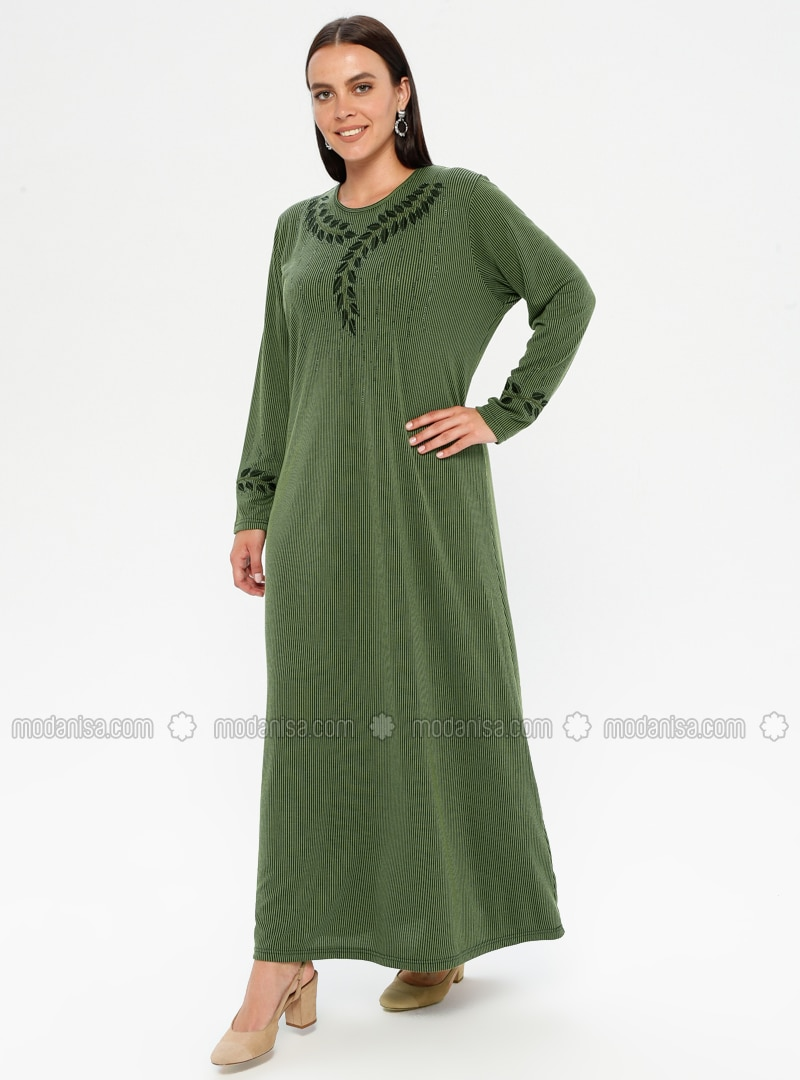 Khaki - Multi - Unlined - Crew neck - Viscose - Plus Size Dress