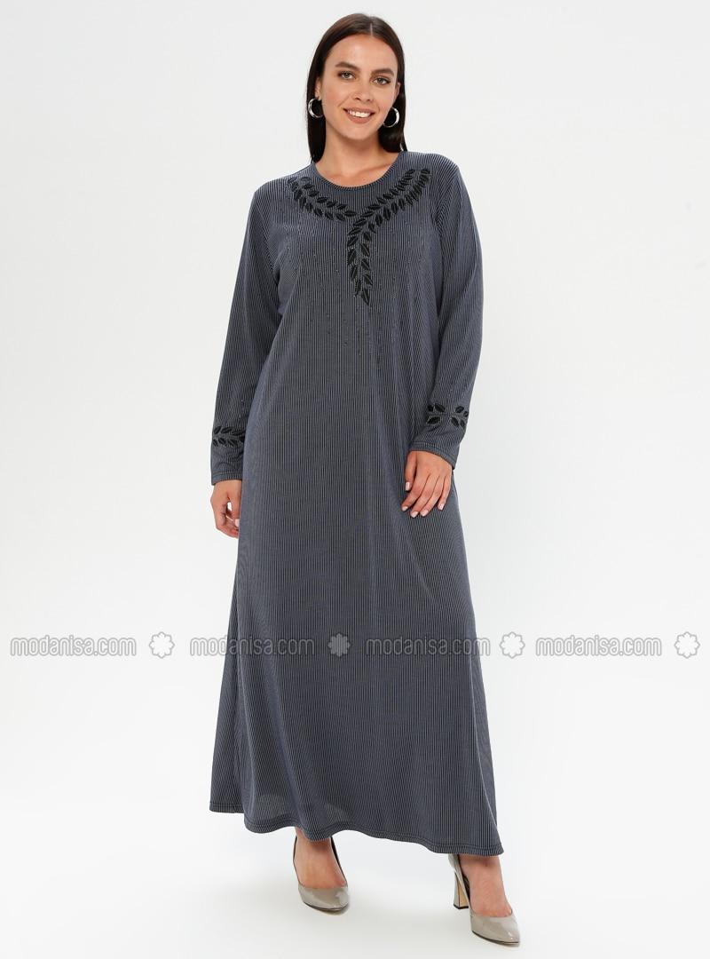 Indigo - Multi - Unlined - Crew neck - Viscose - Plus Size Dress