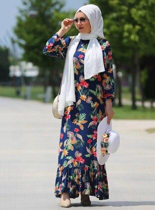 Navy Blue - Floral - Crew neck - Viscose - Dress