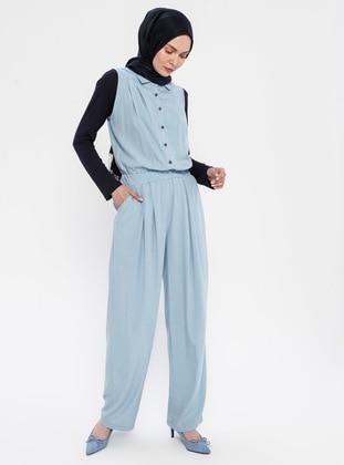 Blue - Unlined - Point Collar - Viscose - Jumpsuit