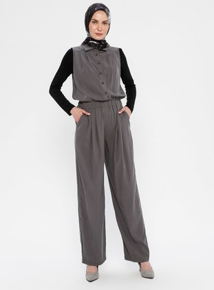 Smoke - Unlined - Point Collar - Viscose - Jumpsuit
