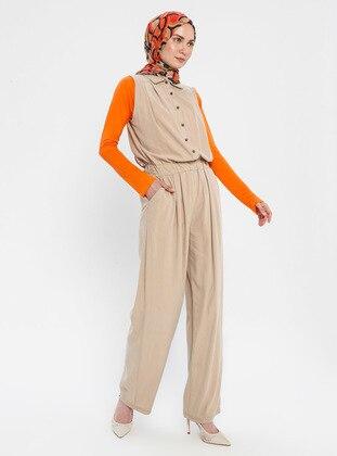 Mink - Unlined - Point Collar - Viscose - Jumpsuit