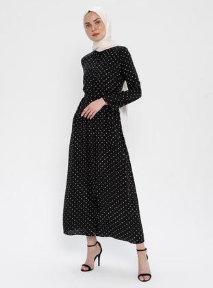 Black - Polka Dot - Point Collar - Unlined - Viscose - Dress