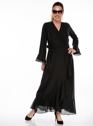 Black - Fully Lined - V neck Collar - Plus Size Dress