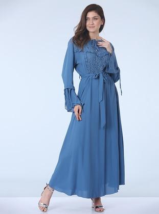 Indigo - Fully Lined - Crew neck - Plus Size Dress