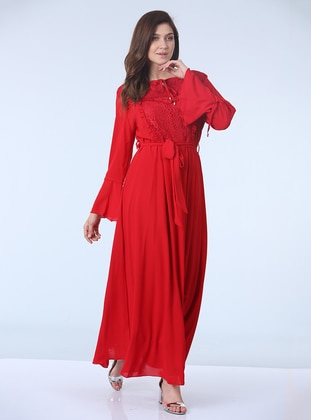 Red - Fully Lined - Crew neck - Plus Size Dress