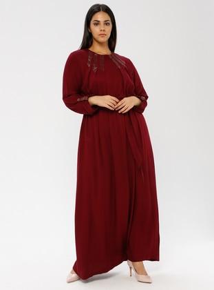 Maroon - Unlined - Plus Size Dress - Ginezza