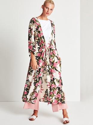Pink - Multi - Shawl Collar - Cardigan